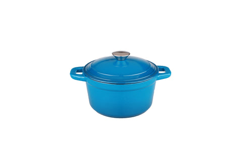 Neo 7qt Cast Iron Round Covered Casserole Blue