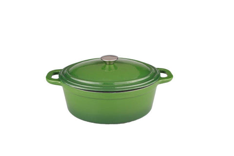 Neo 8qt Cast Iron Oval Covered Casserole Green