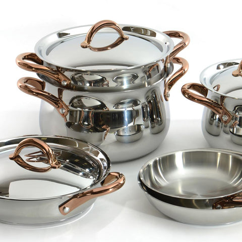 Ouro Gold 11-Piece Stainless Steel Cookware Set with Lids