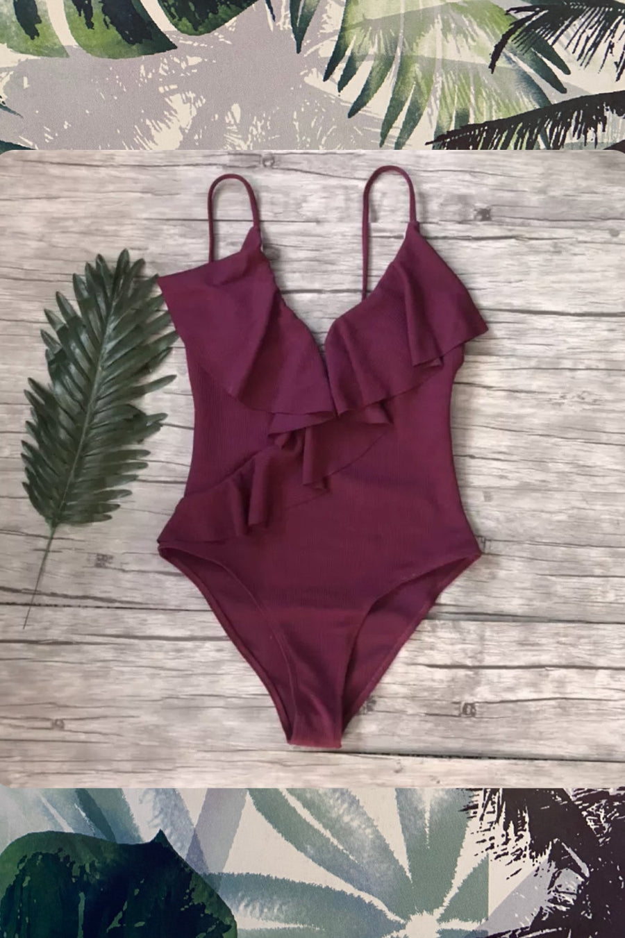 'Roberta' plum ruffle one piece