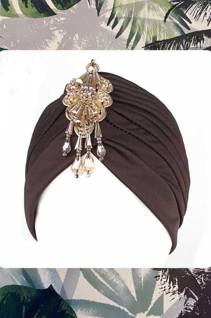 'Merin' embellished black turban