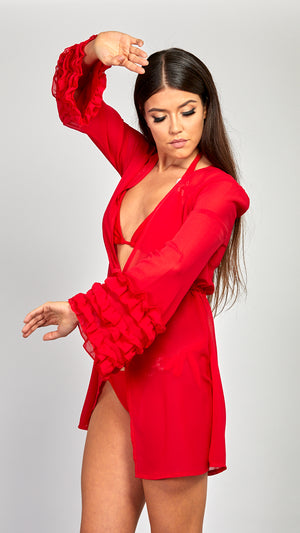 'Sofia' Ruffle Sleeve Cover Up- RED