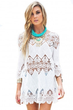 'Clifton' Cream lace cover up