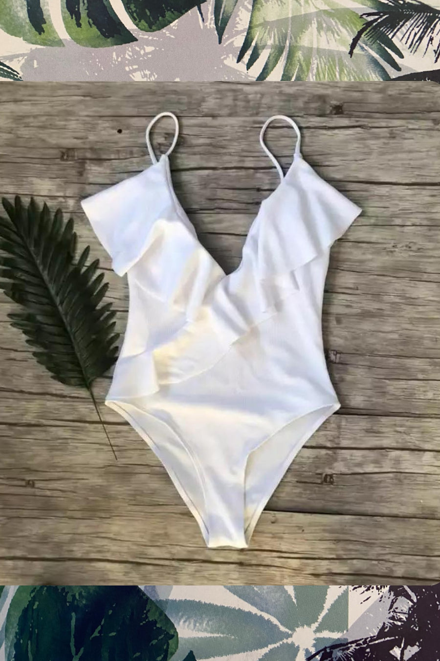 'Roberta' white ruffle one piece