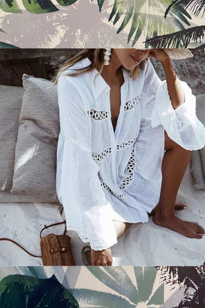 ' Felisa '  over size white beach shirt