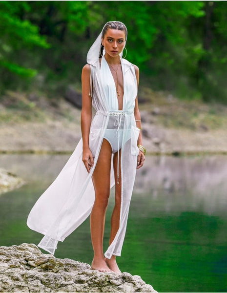 'Cosmo' hooded cover up ( available in Ivory , Black and Khaki ) - Bikini Genie