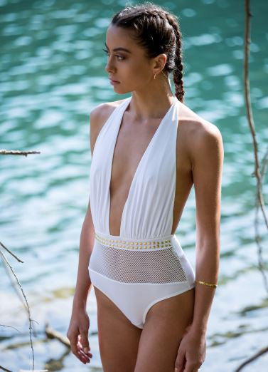 'Cuba' One Piece ( Colours: white, black and khaki ) - Bikini Genie