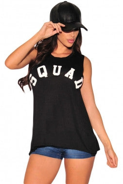 'SQUAD' black tank top.
