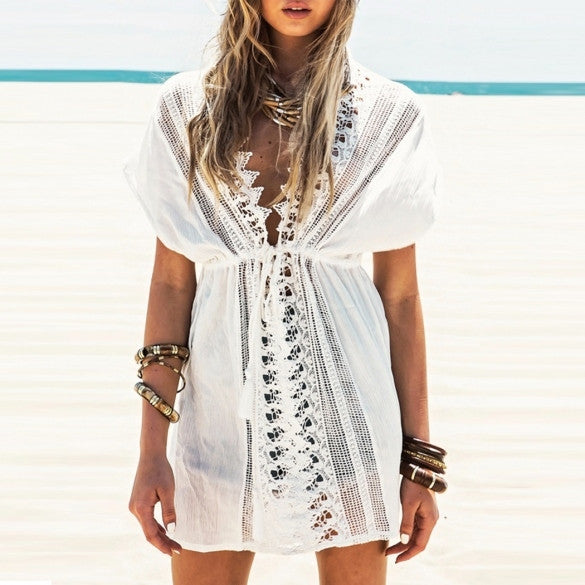 Boho off white lacy cover up