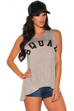 'Squad' grey tank top