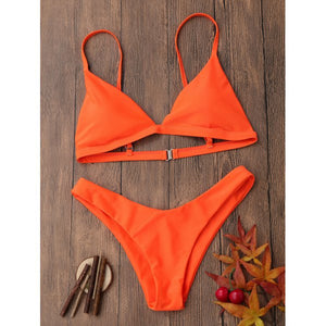 'Kiki '  Orange High Leg Bikini - Bikini Genie