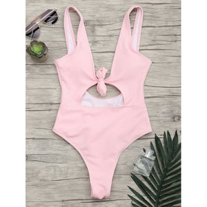 'Kourtney' Pink Tie Front One Piece