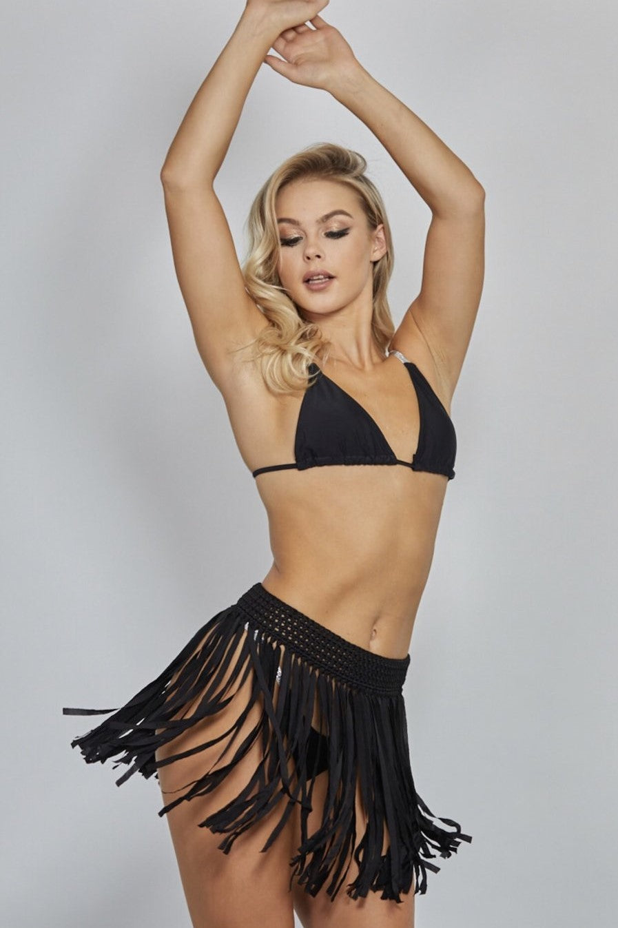 'Aloha' Black Fringed Skirt