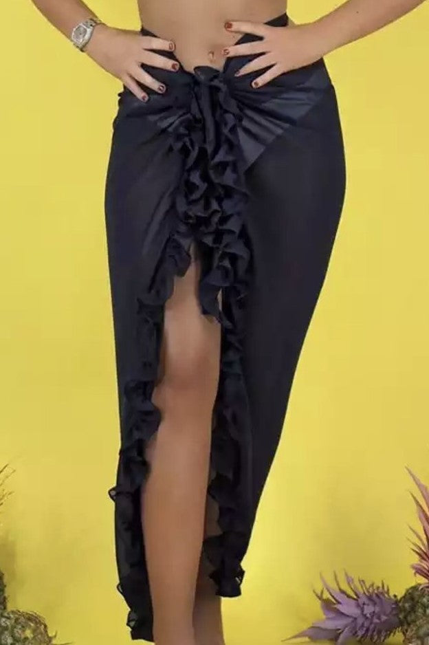 ' Cindy' black  ruffle wrap skirt