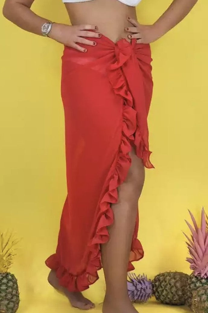 ' Cindy' red ruffle wrap skirt