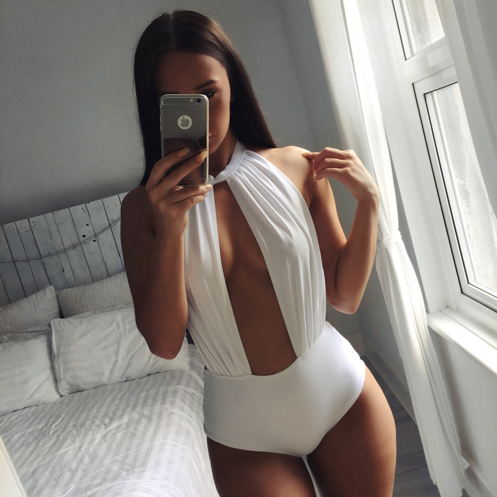 'St Tropez' white slash front one piece - Bikini Genie