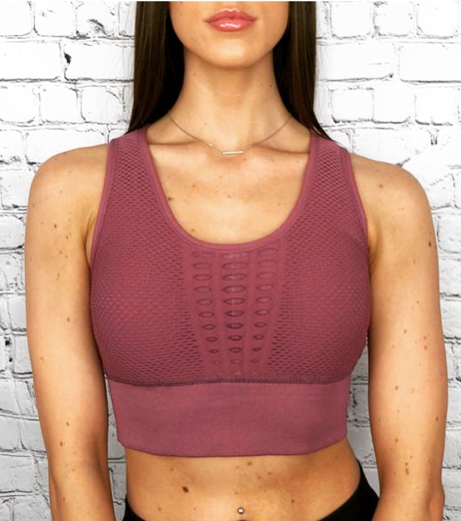 'Angelina' plum sports bra crop top - Bikini Genie