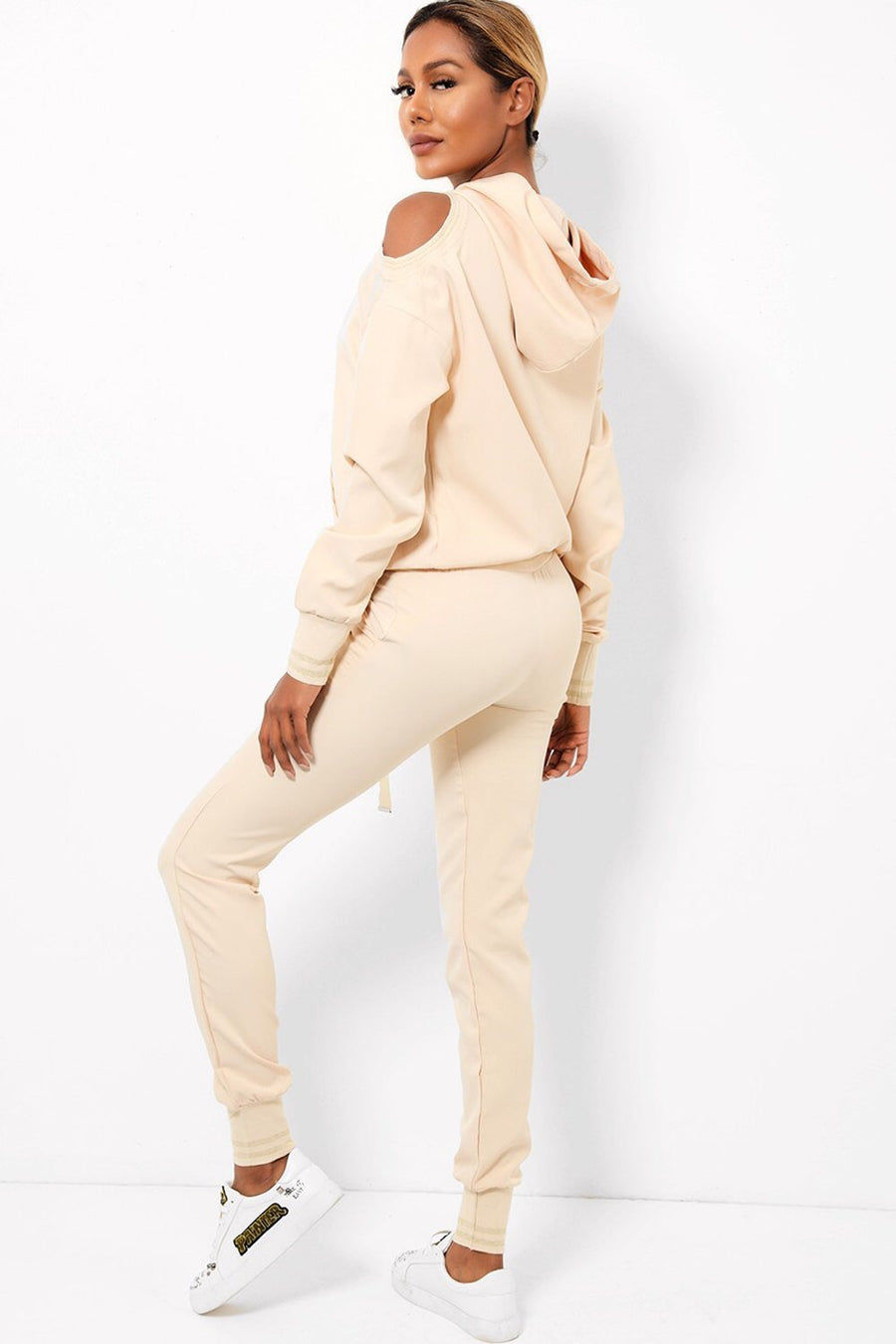 'Anne-Marie' cold shoulder cream tracksuit - Bikini Genie