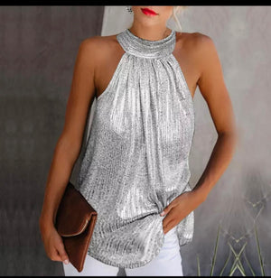Tazmin Silver metallic halter neck top
