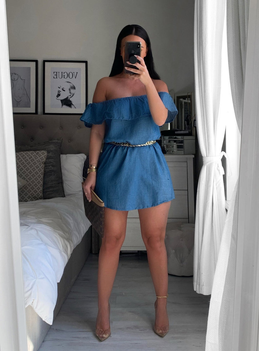 'Daisy' denim style Bardot dress