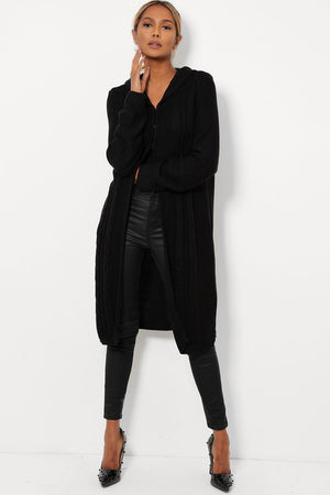 'Chloe' black long cable knit hooded cardigan - Bikini Genie