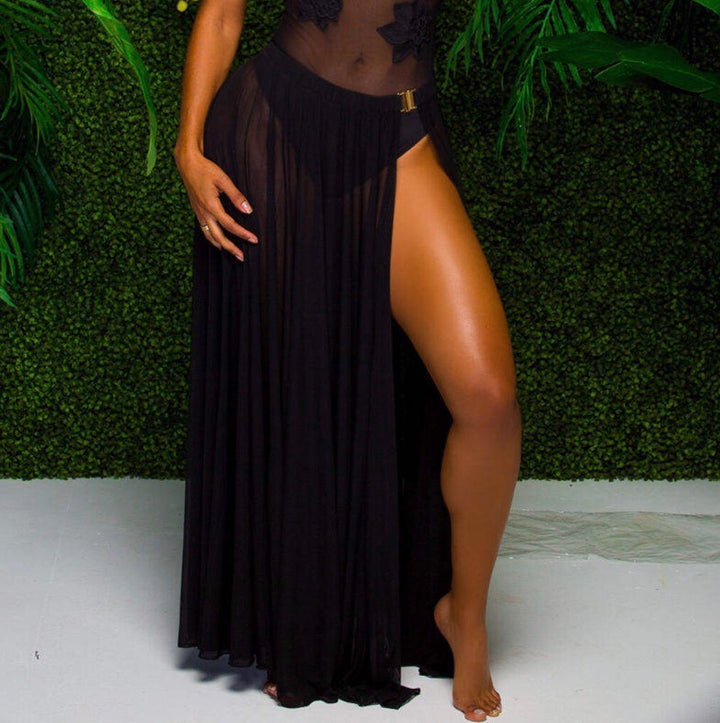 'Ruby '  Black maxi Skirt - Bikini Genie