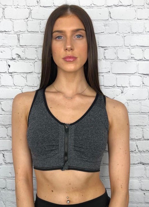 'Jessica ' charcoal zip front sports bra