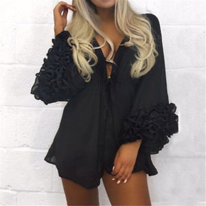 'Sofia' Ruffle Sleeve Cover Up- Black