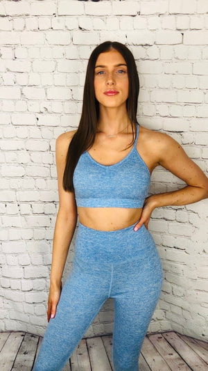 'Kara' blue two piece gym set - Bikini Genie