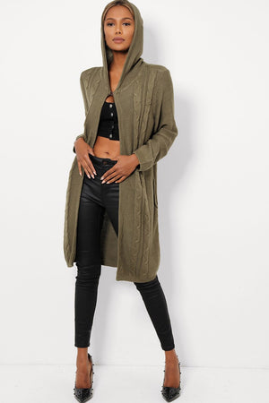 'Chloe' khaki long cable knit hooded cardigan - Bikini Genie