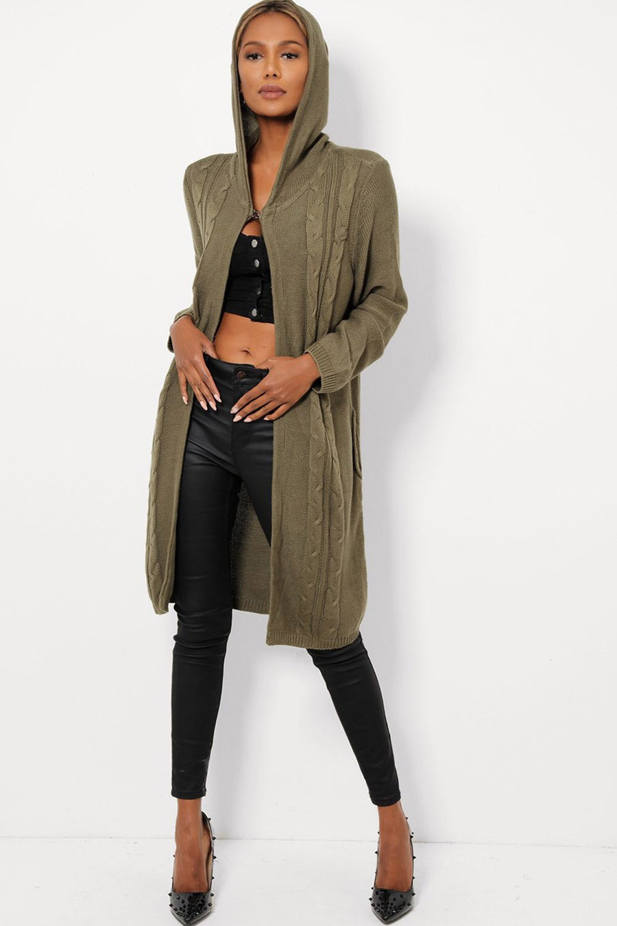 'Chloe' khaki long cable knit hooded cardigan