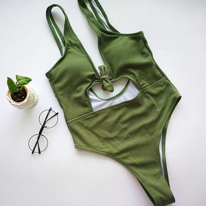 'Kourtney' Khaki Tie Front One Piece