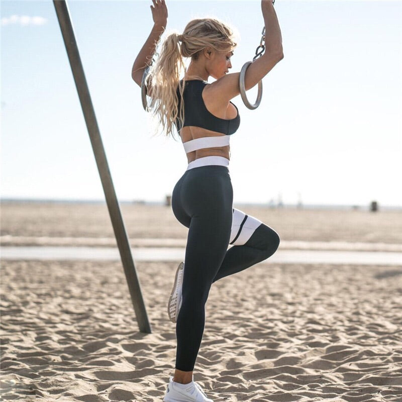 ' Dina ' black leggings and top gym coord set
