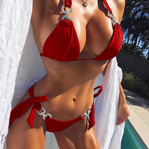'Ocean Beach' Red Bikini