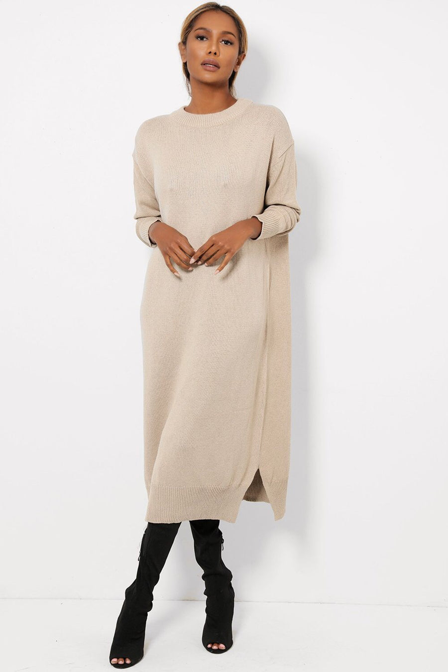 ' Stella ' oatmeal knitted long jumper dress - Bikini Genie