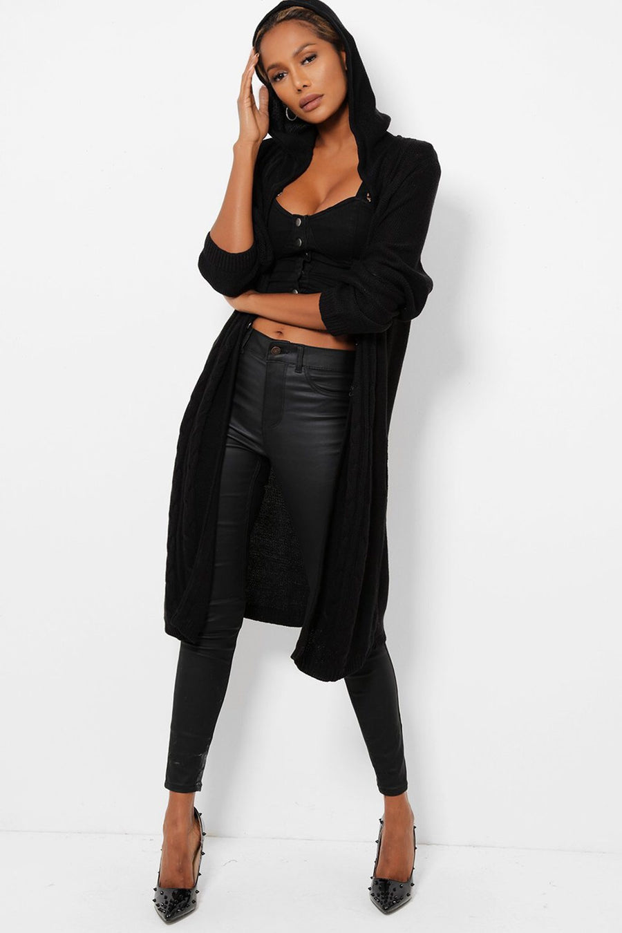 'Chloe' black long cable knit hooded cardigan