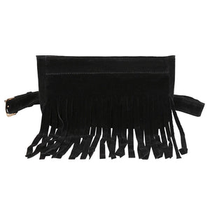 ' Tarifa' Black Tassel Bum Bag