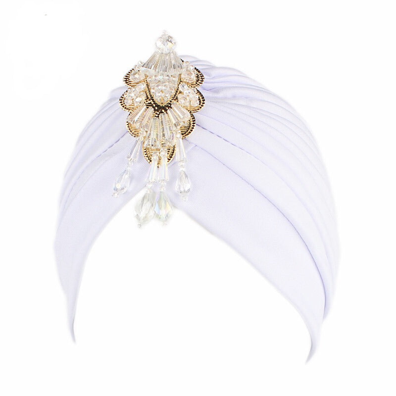 'Merin' embellished white turban