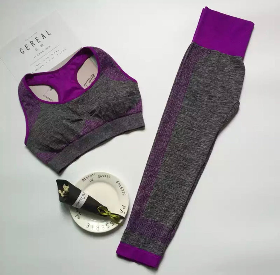 ' Brooke' purple gym top and leggings set