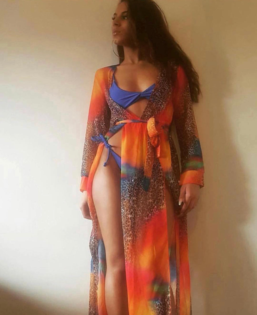 'Eden ' multi colour and leopard cover up