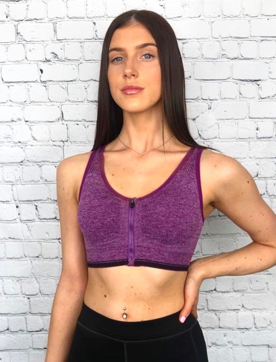 'Jessica ' purple zip front sports bra - Bikini Genie