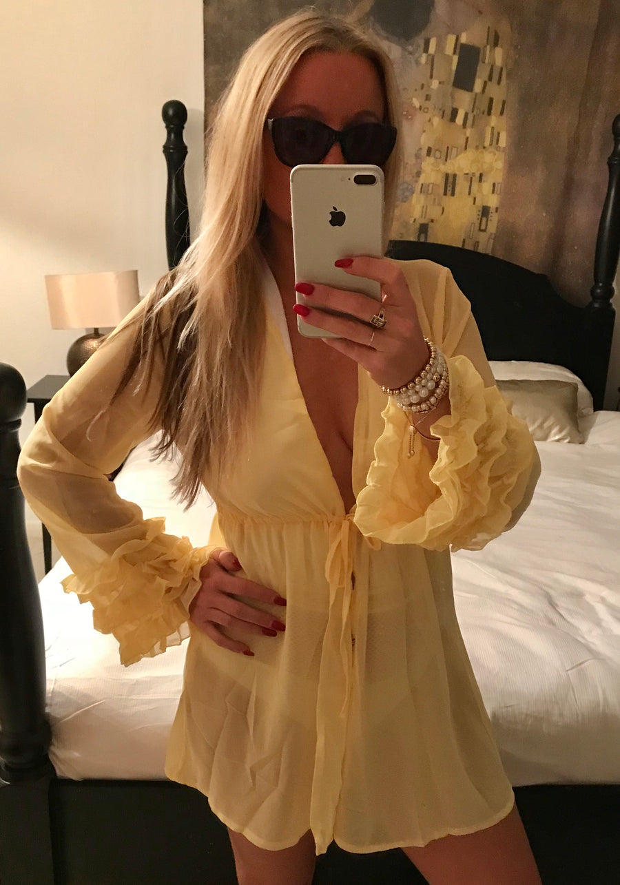 'Sofia' Ruffle Sleeve Cover Up- Yellow