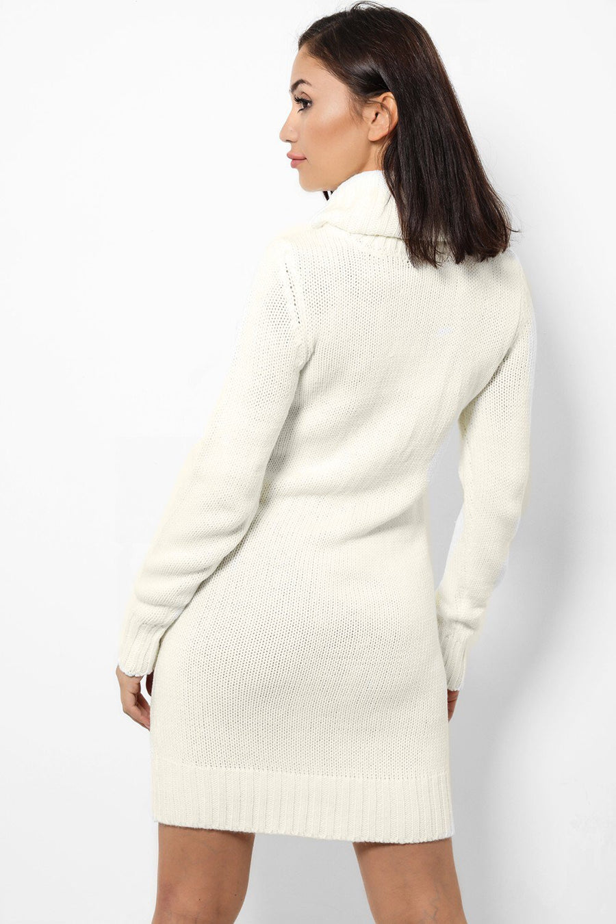 ' Amber ' cream roll neck jumper dress - Bikini Genie
