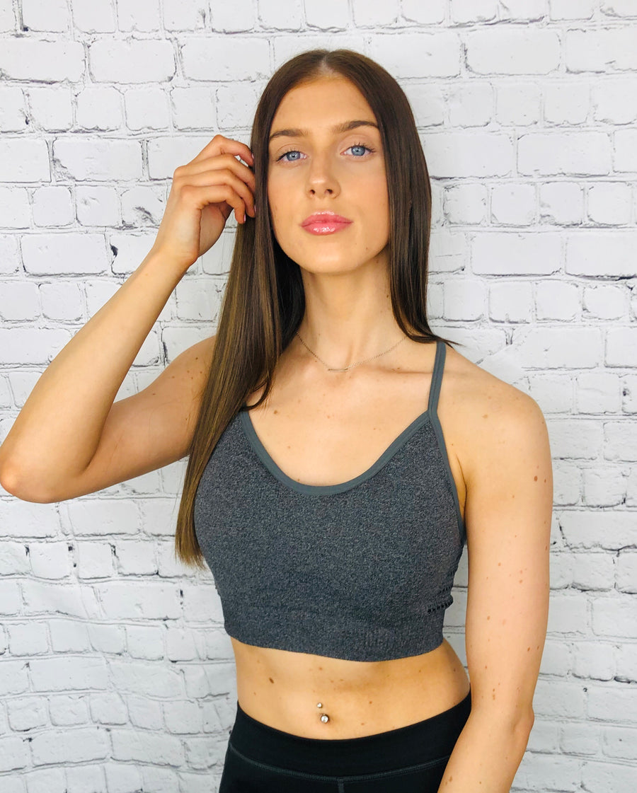 'Kalani ' strappy grey sports bra