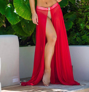 ' Ruby '  Red maxi Skirt - Bikini Genie