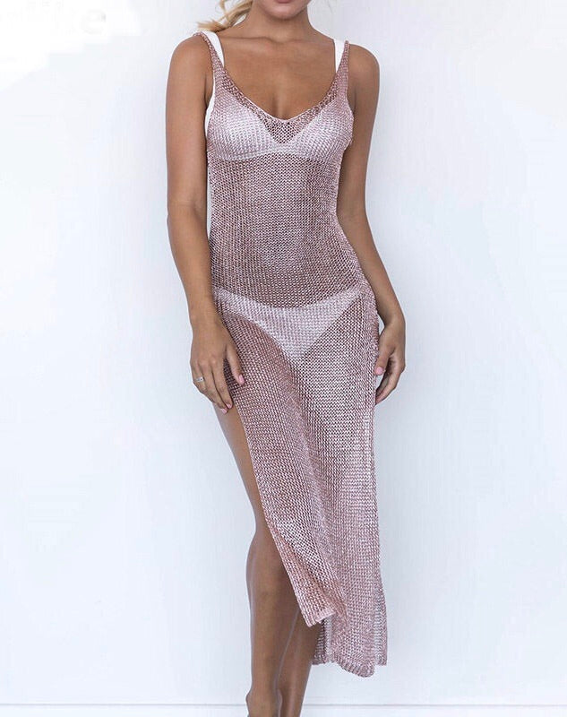 'Zante' Pink metallic Glitter Beach Dress - Bikini Genie