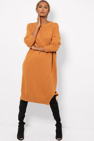' Stella ' terracotta knitted long jumper dress - Bikini Genie