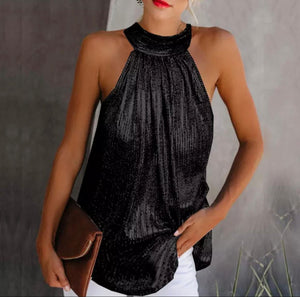 Tazmin Black metallic halter neck top