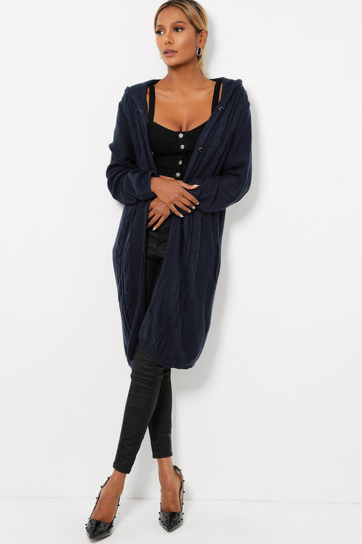 'Chloe' navy long cable knit hooded cardigan - Bikini Genie