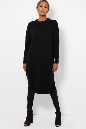 ' Stella ' black knitted long jumper dress - Bikini Genie